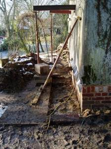 Steel beams supporting the house at first floor level so the sole plates could be removed.