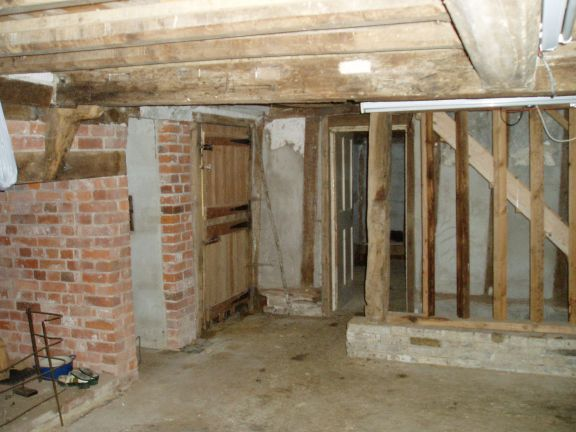 The cement floor, which was removed and replaced with limecrete