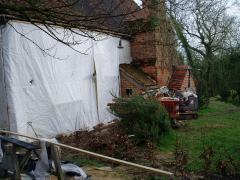 Protective covering on the back wall after the footings done - to keep the woodpeckers from the clay. Early 2009.