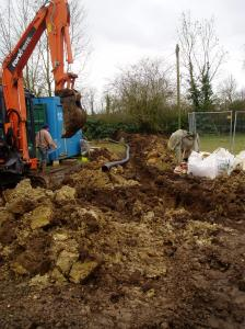 Excavating for the power cable, early 2009.