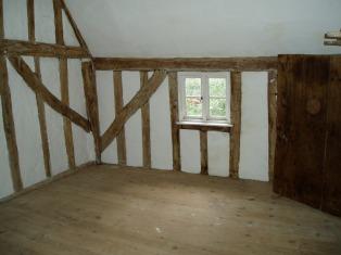 new pine floor in bedroom, over living room
