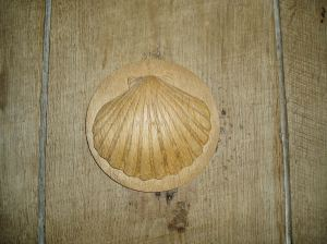 Pilgrim's shell made by Paul, on the south bedroom door.
