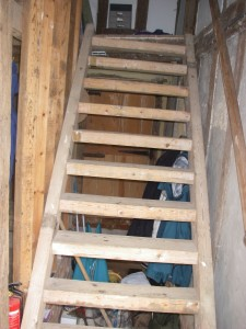 Pine staircase, later replaced with oak