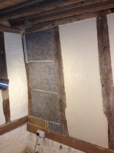 On left, old limewashed wattle and daub, centre Savalit boards ready for plastering, right, after plastering.