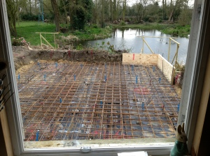Steelwork for the raft in place, ready for the concrete.