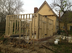 The timber frame takes shape