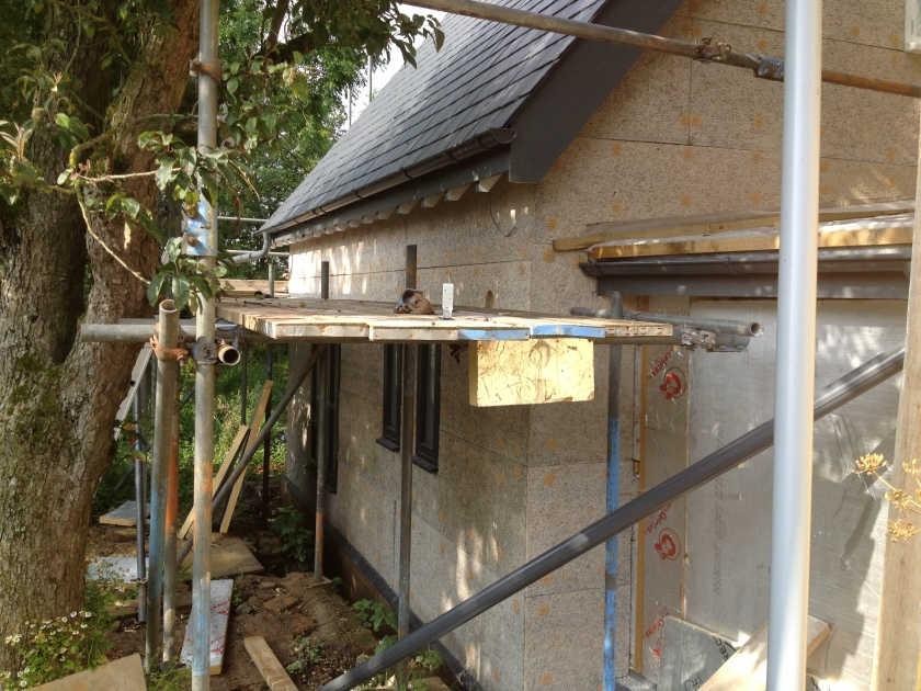 A clser look at the Savolit boards - excellent alternative to laths for plastering and also an insulator,
