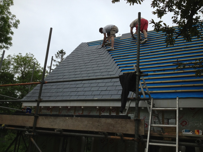Tim and Andrew laying the Glendyne slates