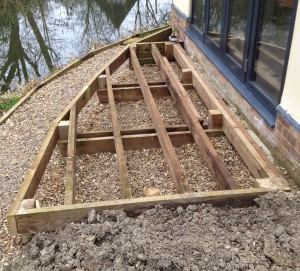 Frame ready, with two pairs of supports for the inner joists